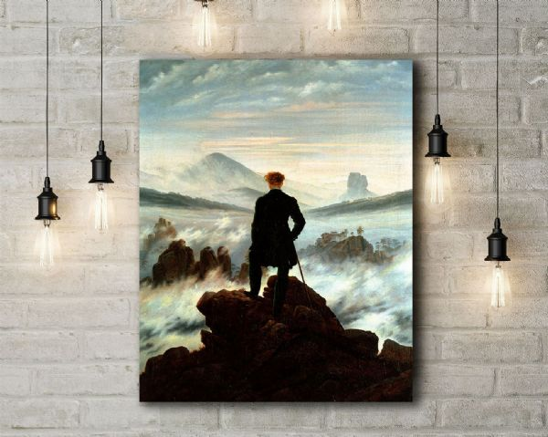 Caspar Friedrich: The Wanderer Above the Sea of Fog. Fine Art Canvas.
